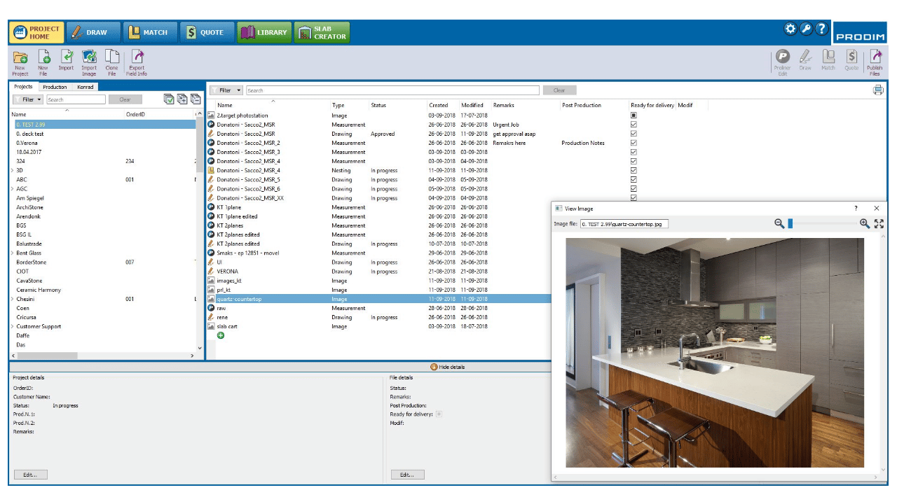 Captura de ecrã - Software Prodim Factory - Project Home