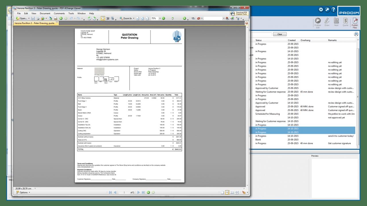 Captura de ecrã - Software Prodim Factory – Cotação
