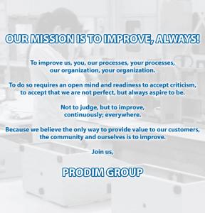 Missão do grupo Prodim: a nossa missão é melhorar, sempre!
