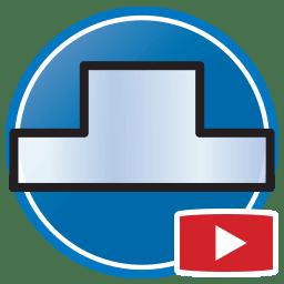 Botão para Assistir vídeos Proliner de medição de paredes e espelhos em Vidro
