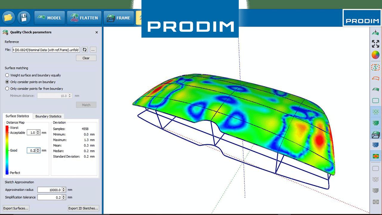 Prodim - soluções completas de modelagem digitais - Software para a indústria baseada em aplicativos - Captura de ecrã de software Prodim Vidro Curvo