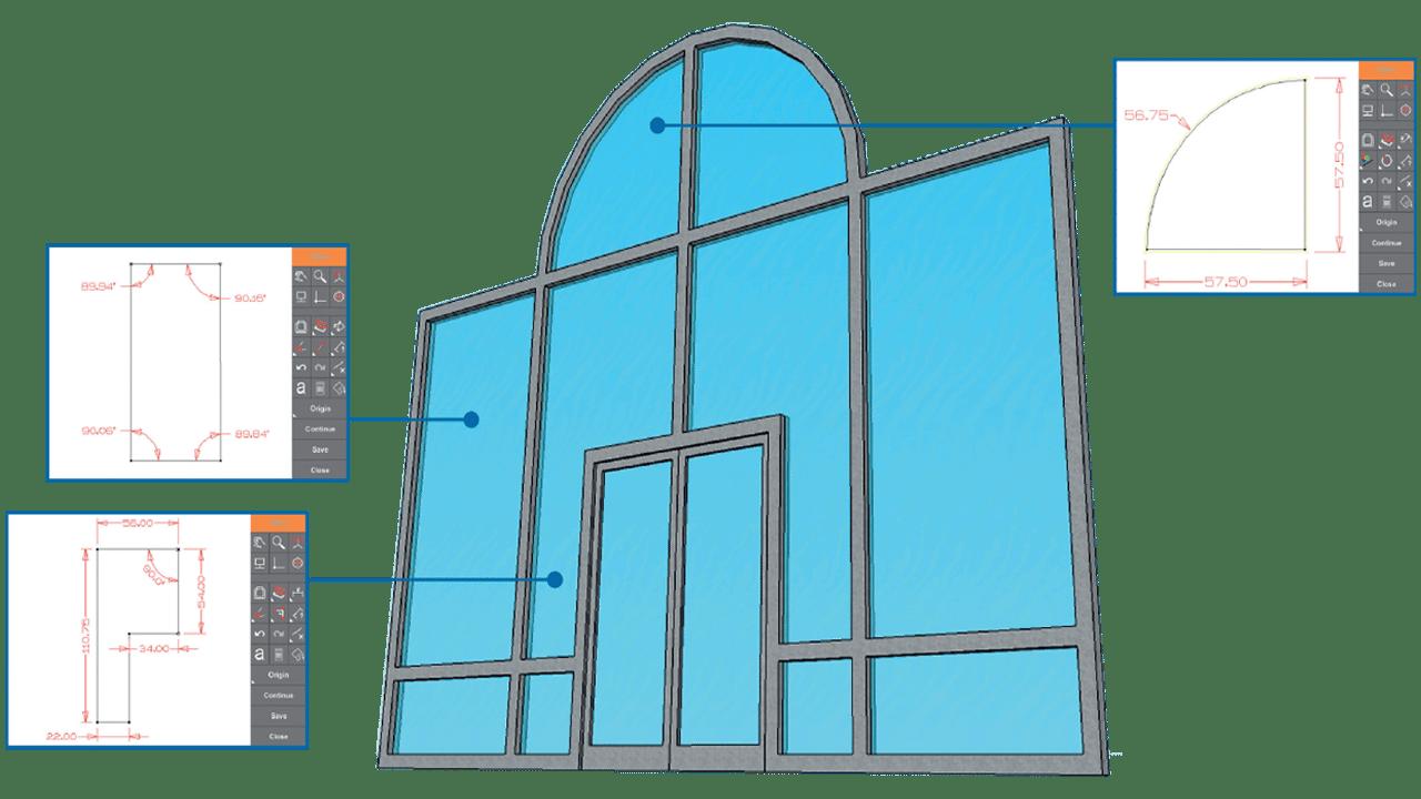 Capturas de ecrã: Software Prodim Proliner para Portas e Janelas