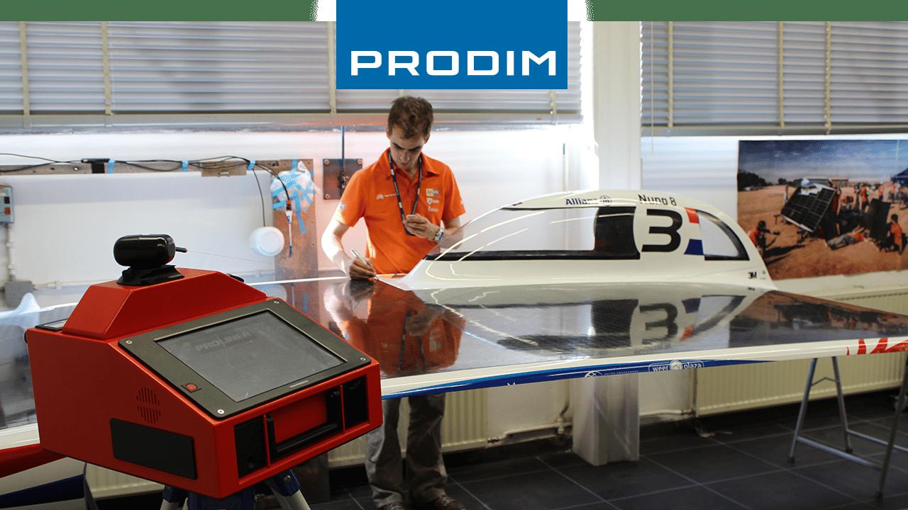 Dispositivo de medição digital Prodim Proliner - Usado para o controle de qualidade do Nuna 8, o carro solar da Nuon Racing Team