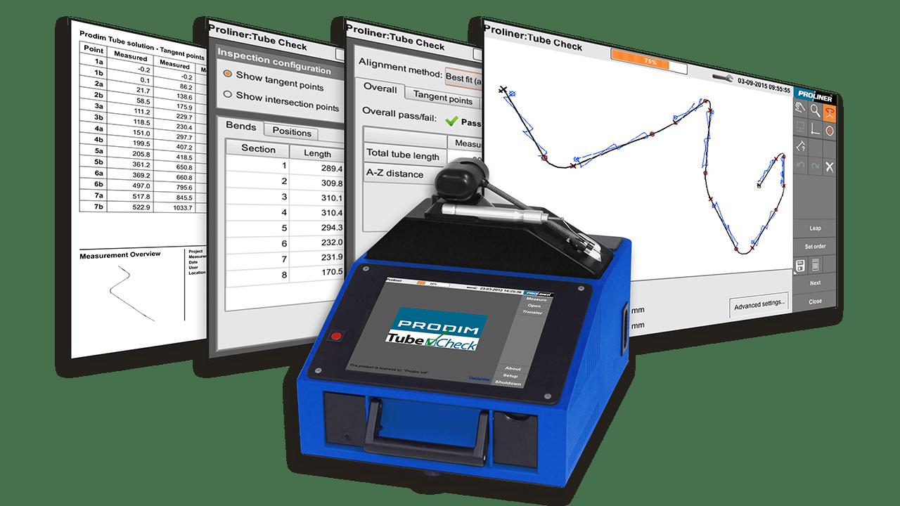 Capturas de ecrã do software Prodim TubeCheck e uma imagem de um Proliner 10IS