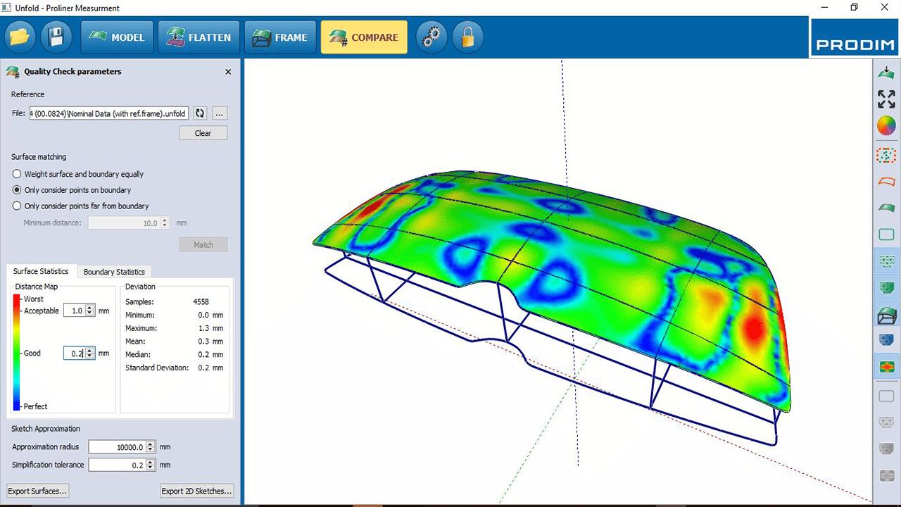 Captura de ecrã- Software Prodim Vidro Curvo - Comparar